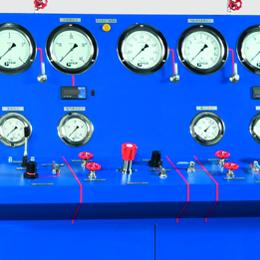Banco prova per testare le valvole industriali